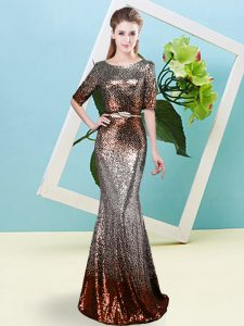 Sequined Scoop Half Sleeves Zipper Sequins and Belt Pageant Dress for Teens in Multi-color