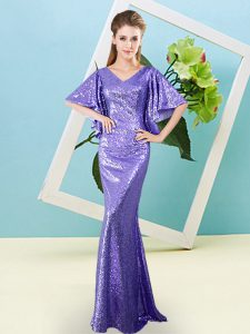 Floor Length Lavender Pageant Dress Womens Sequined Half Sleeves Sequins