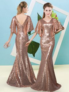 Affordable Brown Mermaid Sequins Pageant Dress Toddler Zipper Sequined Half Sleeves Floor Length