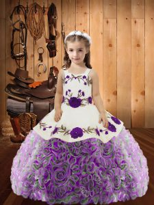 Latest Straps Sleeveless Pageant Dress for Teens Floor Length Embroidery and Ruffles Multi-color Fabric With Rolling Flowers