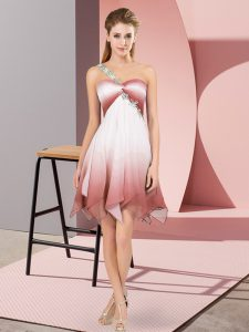 One Shoulder Sleeveless Fading Color Pageant Dress for Teens Beading Lace Up