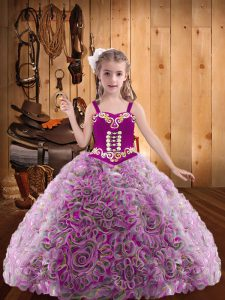 Hot Selling Embroidery and Ruffles Little Girls Pageant Dress Multi-color Lace Up Sleeveless Floor Length