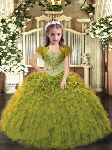 Sweet Floor Length Ball Gowns Sleeveless Olive Green Pageant Dress for Girls Lace Up