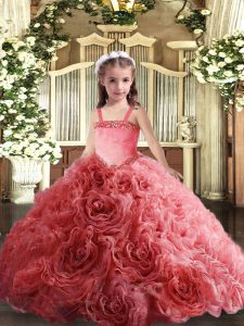 Coral Red Straps Neckline Appliques Pageant Gowns For Girls Sleeveless Lace Up