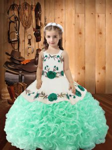 Apple Green Sleeveless Floor Length Embroidery and Ruffles Lace Up Girls Pageant Dresses