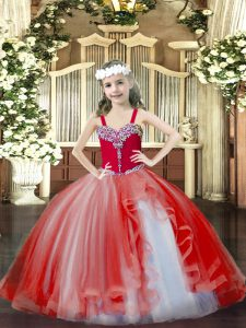 Stylish Sleeveless Floor Length Beading Lace Up Custom Made Pageant Dress with Red
