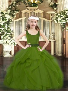 High Quality Floor Length Ball Gowns Sleeveless Olive Green High School Pageant Dress Zipper
