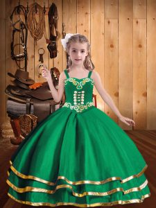 Green Ball Gowns Organza Straps Sleeveless Embroidery and Ruffled Layers Floor Length Lace Up Kids Pageant Dress
