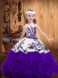 Embroidery and Ruffles Girls Pageant Dresses White And Purple Lace Up Sleeveless Floor Length