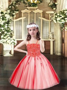 Sleeveless Beading Lace Up Little Girls Pageant Dress