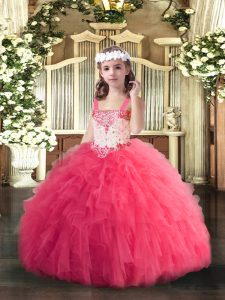 Hot Pink Sleeveless Floor Length Beading and Ruffles Lace Up Pageant Gowns For Girls