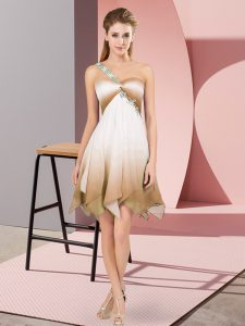 Sweet Fading Color Sleeveless Asymmetrical Pageant Dresses and Beading