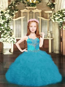 High End Organza Sleeveless Floor Length Custom Made Pageant Dress and Beading and Ruffles and Pick Ups