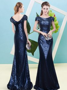 Eye-catching Floor Length Zipper Custom Made Pageant Dress Navy Blue for Prom and Party with Sequins