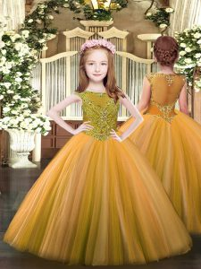 Best Orange Zipper Little Girl Pageant Dress Beading Sleeveless Floor Length