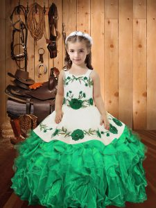 Straps Sleeveless Pageant Dress for Teens Floor Length Embroidery and Ruffles Turquoise Organza
