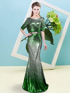 Colorful Scoop Half Sleeves Zipper Pageant Dress Wholesale Multi-color Sequined