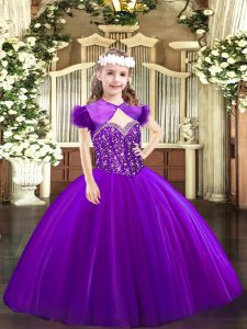 Floor Length Lace Up Little Girl Pageant Gowns Purple for Party and Quinceanera with Beading