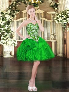 Super Green Organza Lace Up Sweetheart Sleeveless Mini Length Pageant Dress for Womens Beading and Ruffles