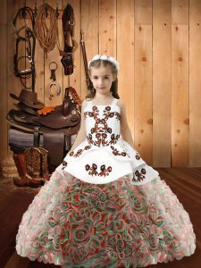 Multi-color Lace Up Pageant Dress for Teens Embroidery Sleeveless Floor Length