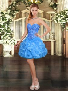 Organza Sweetheart Sleeveless Lace Up Beading and Ruffles Pageant Dresses in Baby Blue