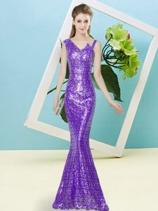 Popular Lavender Sleeveless Sequined Zipper Pageant Dress Womens for Prom and Party