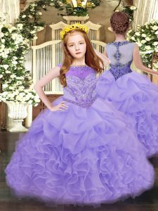 Dazzling Lavender Scoop Neckline Beading and Ruffles and Pick Ups Child Pageant Dress Sleeveless Zipper