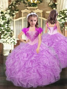 Dazzling Lilac Straps Lace Up Beading and Ruffles Kids Pageant Dress Sleeveless
