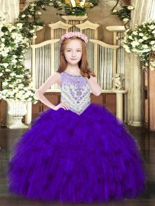 Customized Purple Scoop Zipper Beading and Ruffles Pageant Dress Womens Sleeveless