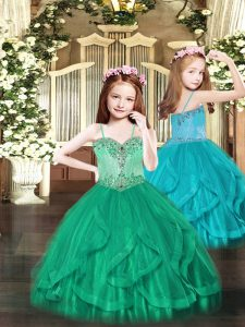Great Tulle Spaghetti Straps Sleeveless Lace Up Beading and Ruffles Little Girls Pageant Gowns in Turquoise