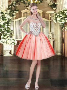 Coral Red Tulle Zipper Pageant Dress for Teens Sleeveless Mini Length Beading and Appliques