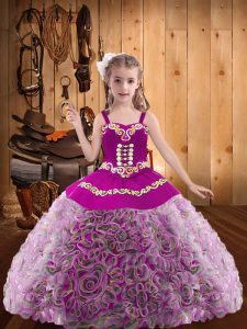 Latest Multi-color Lace Up V-neck Embroidery and Ruffles Pageant Dress Toddler Fabric With Rolling Flowers Sleeveless
