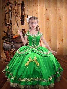 Ball Gowns Little Girls Pageant Gowns Straps Satin Sleeveless Floor Length Lace Up