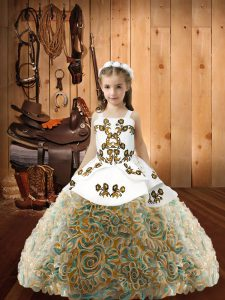 Multi-color Sleeveless Embroidery Floor Length Pageant Gowns For Girls