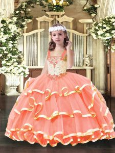 Gorgeous Orange Red Lace Up Pageant Dress for Womens Beading and Ruffled Layers Sleeveless Floor Length