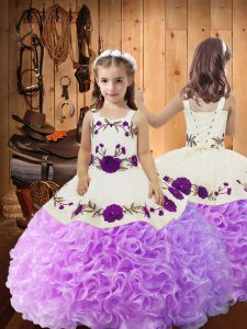 Low Price Floor Length Lilac Pageant Dress Straps Sleeveless Lace Up