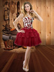 High Quality Wine Red Sleeveless Mini Length Embroidery and Ruffled Layers Lace Up Evening Gowns