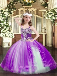 Most Popular Purple Tulle Lace Up Little Girl Pageant Dress Sleeveless Floor Length Appliques