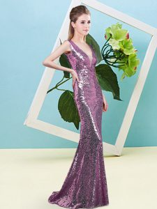 V-neck Sleeveless Zipper Pageant Dress for Womens Lilac Sequined