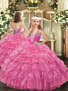 Unique Rose Pink Lace Up Little Girl Pageant Dress Beading and Ruffled Layers and Pick Ups Sleeveless Floor Length