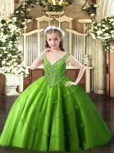 Sleeveless Tulle Floor Length Lace Up High School Pageant Dress in Green with Beading and Appliques