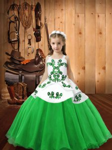 Green Lace Up Straps Embroidery Pageant Gowns For Girls Organza Sleeveless
