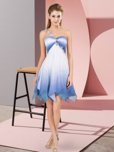 Unique Multi-color One Shoulder Neckline Beading Pageant Dress Sleeveless Lace Up