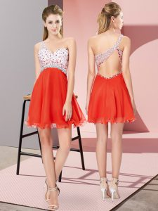 Mini Length Red Pageant Dress Wholesale One Shoulder Sleeveless Criss Cross