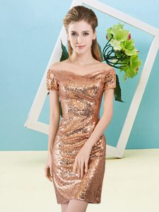 Edgy Orange Column/Sheath Sequined Off The Shoulder Short Sleeves Sequins Mini Length Zipper Pageant Dress Toddler