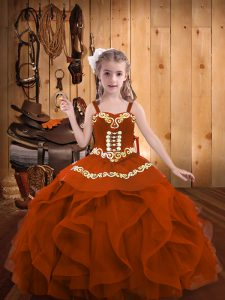 Sleeveless Floor Length Embroidery and Ruffles Lace Up Pageant Dress Wholesale with Rust Red
