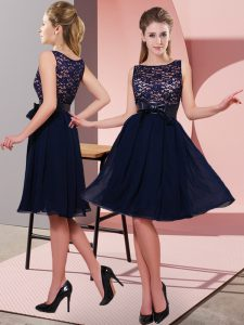 Scoop Sleeveless Chiffon Evening Gowns Lace and Bowknot Side Zipper