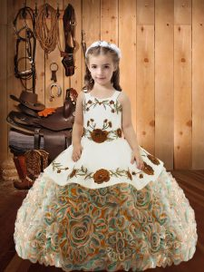 Multi-color Fabric With Rolling Flowers Lace Up Straps Sleeveless Floor Length Pageant Gowns For Girls Embroidery and Ruffles