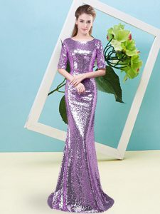 Lavender Zipper Scoop Sequins Pageant Gowns Sequined Half Sleeves