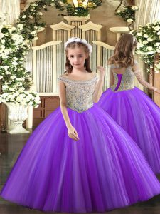 Sleeveless Tulle Floor Length Lace Up Pageant Gowns For Girls in Purple with Beading